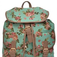 Shabby Chic Floral Print Slouch Backpack in Mint | Sincerely Sweet Boutique
