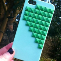 Mint Green Neon Top Pyramid Studded iPhone 5 5G Phone Case