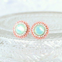 Mint peach coral ivory stud earrings  by exquisiteartistry on Etsy