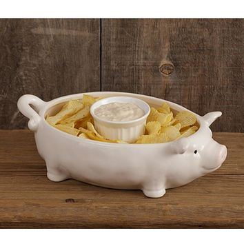 Chip and Dip Ceramic Pig Bowl