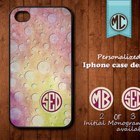 Personalized iPhone Case - Plastic or Silicone Rubber Monogram iPhone 4 4S Case Cover - K001