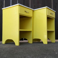 Pair of Nightstands Bedside Tables with Drawers Yellow Brass & Formica Bedroom Furniture Painted Wood Vintage Storage Shelf Bookshelf Lamp