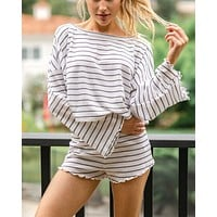 Listen to Your Heart Stripe Knit Wide Long Sleeves Top and Short Set in White/Navy