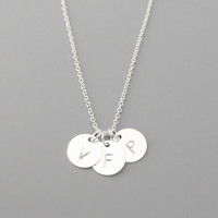 1-5, Personal, Letter, Initial, all sterling silver, Disc, Silver Necklace, Custom, Hand stamped, Sterling silver, Disc, Gift, Jewelry