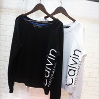 Calvin Long sleeve loose type pullover print round collar thick and thin two style sweater