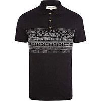 Black tribal placement stripe polo shirt
