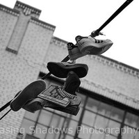 Black and White Urban Photography - Shoes on a Wire - NYC - Travel Photograph - CUSTOM SIZES