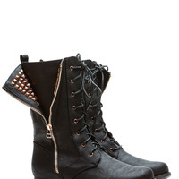 Unzip the Gold Black Faux Leather Lace Up Boots