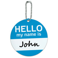 John Hello My Name Is Round ID Card Luggage Tag