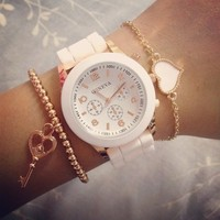 Rose Gold & White Rubber Strap Watch