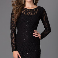 Short Lace Long Sleeve Dress