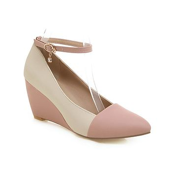 Shallow Toe Ankle Straps Wedges Shoes Woman