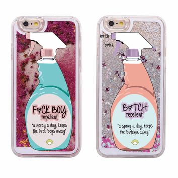 Sexy Repellent Spray FBoys Bitch Away Heart Quicksand Glitter Liquid Hard Case For iPhone 7 7Plus 6 6S 6Plus 5 5S SE