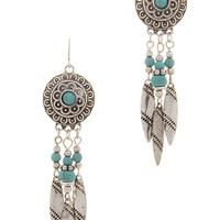Vintage Silver Dreamcatcher Feather Earrings