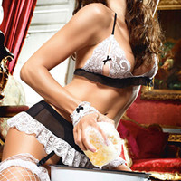 Halter Sheer Mesh Lace Cutout French Maid Lingerie Set