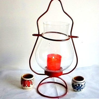 Large red vintage lantern with clear globe - home decor, garden, collectible, Christmas lantern