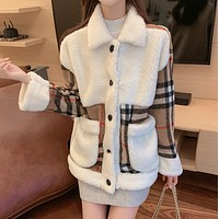 BURBERRY New Women Lambhair Plaid Sweater Coat