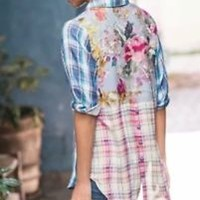 Soft Surroundings Plaid Embroidered Floral Serena Shirt Top I Sz Small