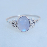 Moonstone gemstone ring, Rainbow Moonstone Silver Ring,Moonstone,silver rainbow ring, moon stone ring Jewelry, Natural Moonstone Ring Size 8