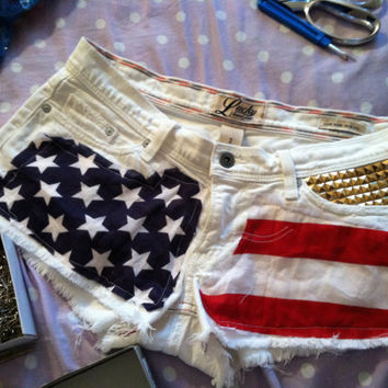 American flag shorts with gold studs
