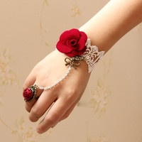 Red Rose Fashion Handmade Vintage Gothic Retro Sexy Bride Lace Wristband Bangles Charm Bracelets Chain Ring Connected Party Wedding Jewelry Gifts (Size: One Size, Color: Red & White)
