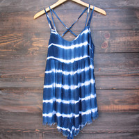 faithful tie dye romper - navy