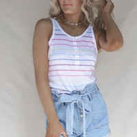 CHASER Vintage Jersey Snap Front Henley Tank