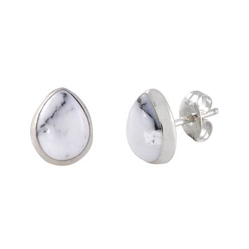 White Turquoise Gemstone Earrings Sterling Silver Pear Shaped 9mm x 7mm