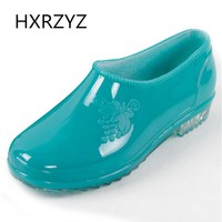 Women's Rain Shoes Low Style Jelly Rain Boots Women Round Toe Rubber Ankle Boots Lady Non-slip Waterproof Casual Shoes