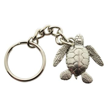 Sea Turtle Keychain ~ Antiqued Pewter ~ Keychain