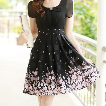 Floral Print Peter Pan Collar Pleated Chiffon Dress