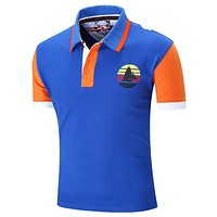 New Brand Men Polo Shirt Mens Solid Polo homme Casual Short Sleeve  Tops for Man Patchwork 100% Cotton Plus Size