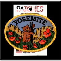 Yosemite Souvenir Patch Bear and Poppies - Made in USA