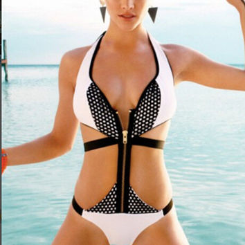 [Summer Sale] Ladies Stylish Bikini Spring Summer Swimsuits One-Piece Swimwear Designer Bathing Suit Beach Wear with Zipper = 4641964932