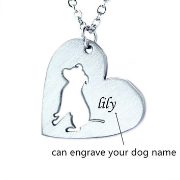Stainless Steel Pitbull Cut-Out Necklace