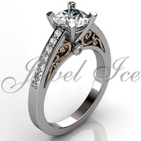 Engagement Ring - 14k white and rose gold diamond unique art deco filigree scroll engagement ring, wedding ring, anniversary ring ER-1113-5