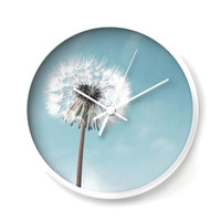 Dandelion Wall Clock in white and pale blue