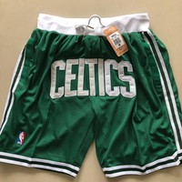Just Don Boston Celtics Vintage Embroidered Pocket Zipper Basketball Swingman Shorts - Best Deal Online