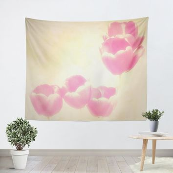 Hazy Pink Tulips Tapestry