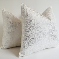 NEW Sukan white and silver pillow - leopard silver pillow - silver pillow - designer pillow - silver throw pillow