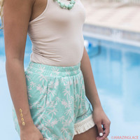 Coconuts And Palm Trees Mint Palm Tree Printed Shorts With Fringe