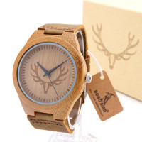 Bobobird Handmade Mens Solid Wood Watch Made with Natural Coffe Sandalwood