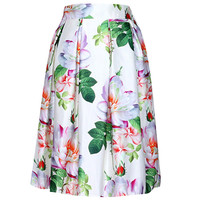 Floral Print Pleated A-Line Mini Skirt