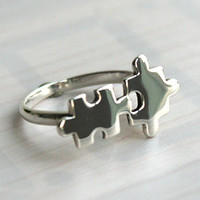 Jigsaw Silver Ring Sterling Ring .925 Silver Ring Personalized Ring
