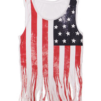 Ladies Shredded American Flag Tank Top