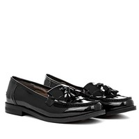 Pia Fringe Loafer Shoe In Patent in Black Patent