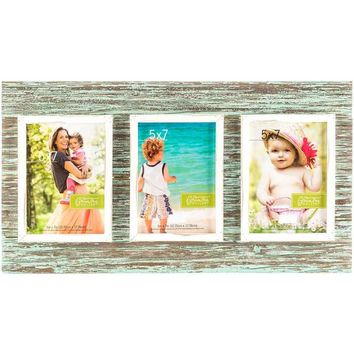 """5"""" x 7"""" Rustic Blue 3-Opening Collage Frame   Hobby Lobby   1153451"""