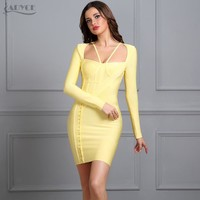 ADYCE New Women Summer Runway Bandage Dress yellow Long Sleeve hollow out Strapless-Neck Celebrity Evening Party Dresses