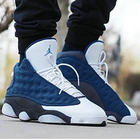 Air Jordan 13 AJ13 Fashion Women Men Sport Running Basketball Shoes Sneakers White&Navy Blue