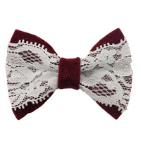 Wine Red Colored Hair Bow Ribbon with Lace FREE SHIPPING